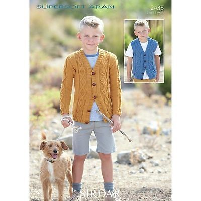 Sirdar Supersoft Aran Childrens Knitting Pattern - 2435 - Cardigan & Waistcoat