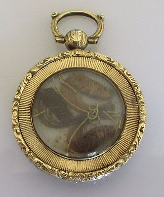 Antique Victorian1849 15ct Yellow Gold Round (Glass Front) Mourning Locket
