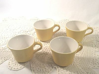 Set of 4 Shenango China Yellow Handled Tea / Coffee Cups Vintage