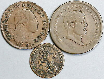 1756 1801 1858 Naples & Sicily Three Copper Italy State Coins (17051601R)