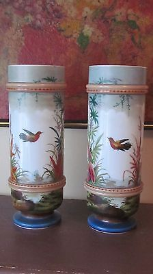 Rare 19Th Century Matched Pair Antique Victorian Bristol Glass Cylinder Vases