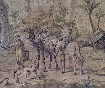 ANTIQUE Woven TAPESTRY Runner Wall Hanging MIDDLE EASTERN VILLAGE SCENE