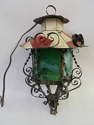 Vintage Arts & Crafts Stained & Marbled Glass Hanging Light Gothic Porch Hall