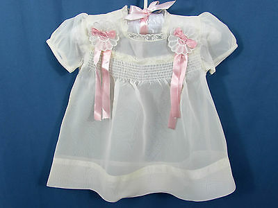 Vintage 50s Baby White Nylon Dress - Smocking lace ribbons - doll dress