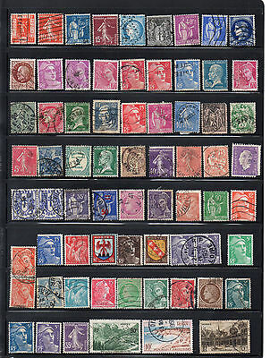France - Stock book page of mint and used stamps (2041)