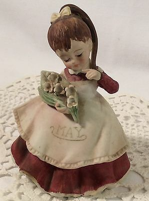 Red Label LEFTON Birthday Month May Bisque Figurine  Flowers # 4200