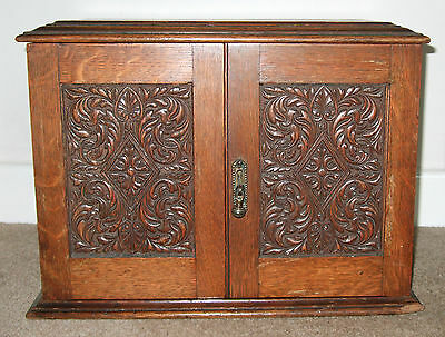 Victorian Pipe Smoker's Cabinet, Oak, Carved Front