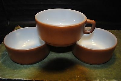 Vintage, Fire King, Soup Bowls/Cup/Chili with Handle Brown Anchor Hocking, 3ea