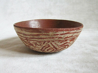 Pre-Columbian DECORATED POLYCHROME POTTERY BOWL, ca. 400 - 700 BC