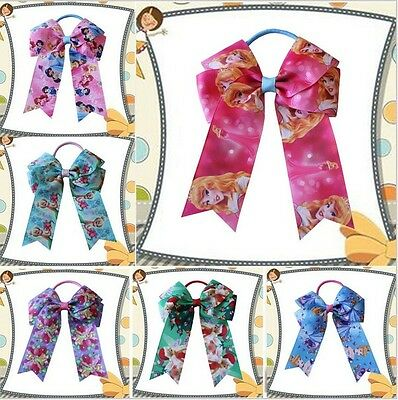 """20 BLESSING Happy Girl Hair Accessories Long Tail 4.5"""" Cheer Leader Bow Elastic"""