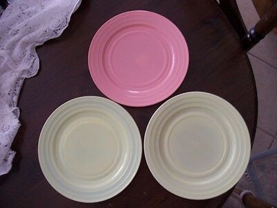 """Moderntone pastel colored 9"""" pink dinner plate and 2 green dinner plates"""