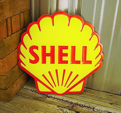 "Shell Gas Gasoline Metal Tin Sign Lion Vintage Garage 12"" New Embossed Yellow"