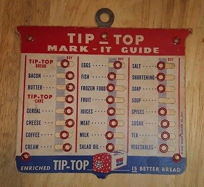 Rare Tip Top Bread Sign VINTAGE 1949 Original Grocery Store SHOPPING LIST