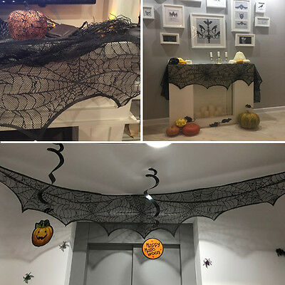 Black Lace Spiderweb Halloween Fireplace Mantle Scarf Cover Festive Party Supply