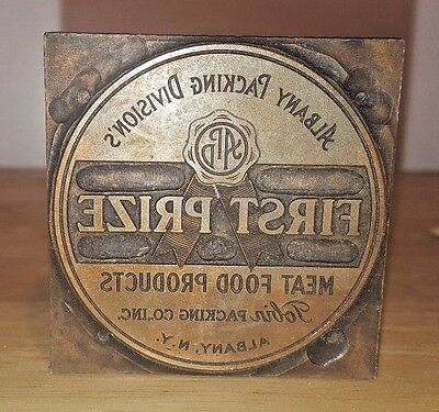 PRINTING PRESS BLOCK Albany NY Packing First Prize ADVERTISING Tobin Meat foods