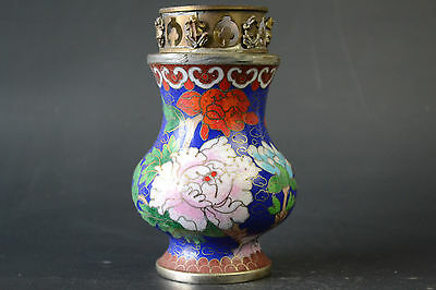 Collectible China Handwork Old Cloisonne Painting Flower Decor Oil Lamp