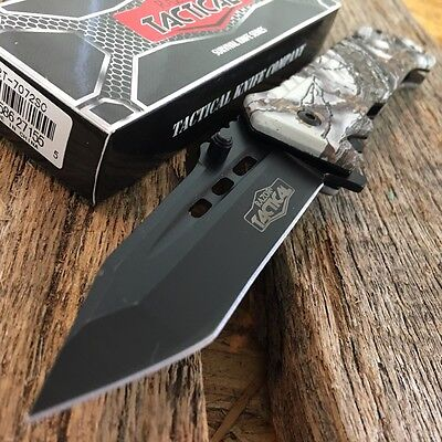 "RAZOR TACTICAL 8"" Spring Assisted Open Pocket RESCUE Knife Combat CAMO New! -S"