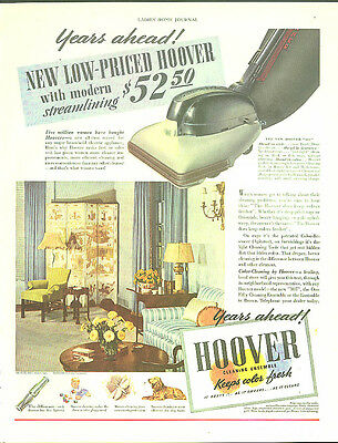 Years ahead! New Low-Priced Hoover Vacuum Cleaner modern streamlining ad 1939