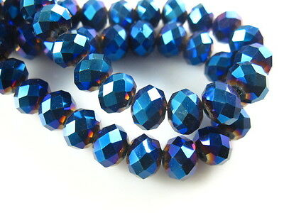 200pcs 5040# Rondelle Faceted Metal Blue Crystal Glass Loose Beads 3x2mm