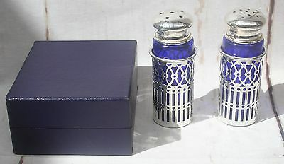 Japanese Silver Metal Lattice Salt & Pepper with Cobalt Glass Liners in Box