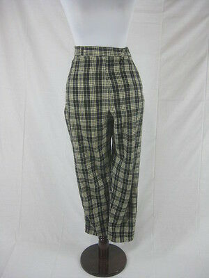 Vtg 40s 50s Black Plaid Womens Vintage Capri Cigarette Pants W 25