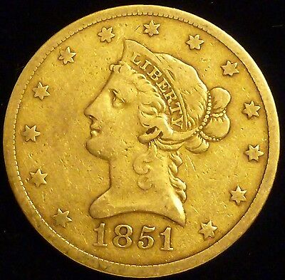 1851-O $10 Liberty Head Eagle Gold Coin Very Fine to Extra Fine New Orleans Mint