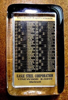 Antique Vintage Glass Advertising Paperweight Kasle Steel Corp. Detroit, Mich
