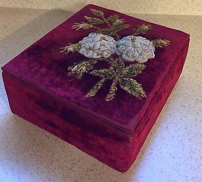 Beautiful HTF Red Velvet  Antique Sewing Trinket Box With Flowers and Leaves
