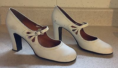 Vintage Women's Ivory High Heel Leather Square Dancing Shoes T-Strap Sz 6 1/2