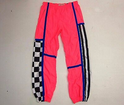 Vintage 80's HOT DOGGER Neon Rave Parachute Pants Mens M Lightweight Nylon Retro