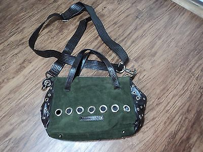 BCBG Maxzria Forrest Green Suede & Brown Leather Ring Satchel Bag, UNIQUE, LQQK