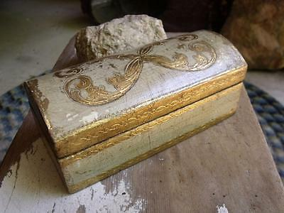 Small Primitive Vintage Wood Italian Toleware Chest Shaped Box Chippy Paint