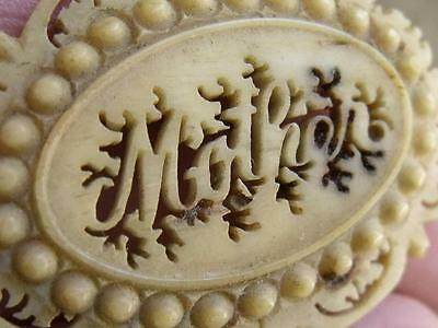 Antique 19th C Victorian Filigree Mother Brooch Sweet Shabby Carved ?