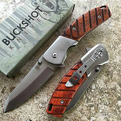 BUCKSHOT Classic Stainless Steel Spring Assisted Open Pocket Knife NEW 8202-WD-S