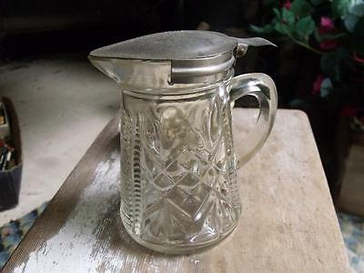 Old Primitive Vintage Geometric Pattern Glass Syrup Pitcher With Tin Lid