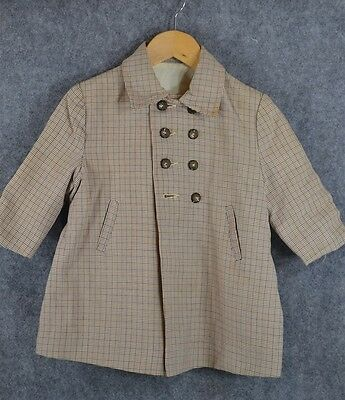 child boy coat baby doll dress double breasted sz 2 vintage 1940 original