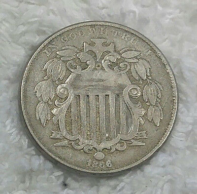 1866 Shield Nickel with rays  - free shipping