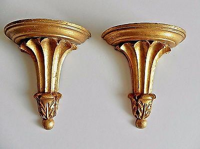 Vintage Matching Pair Florentine Wall Shelves Italian Made in Italy Gold Leaf