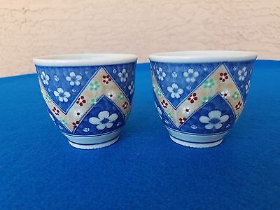 2 Vintage Chinese Tea Cup Blue White W/gold Intricate Design Signed L@@k!!