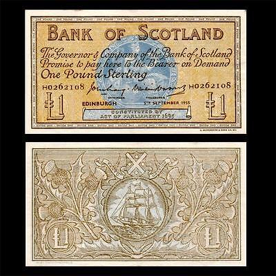 1955 Bank Of Scotland, £1 Large - » Cv $100 « ~Earlier Issue~