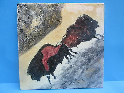 Lovely Old Hand Painted FRF Tile Bison Buffalo