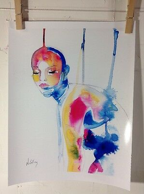Print Of Original Ink Watercolor Painting Women Drip Colorful Art Abstract
