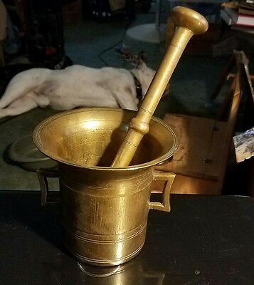 ANTIQUE SOLID BRASS MORTAR AND PESTLE Early 1900's?