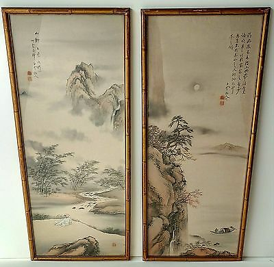 Pair Signed Antique Chinese Qing Silk Landscape Calligraphy Scroll Painting Set