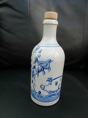 German MKM Stoneware 0.5L Bottle hand painted/glazed  Hog, birds, insects