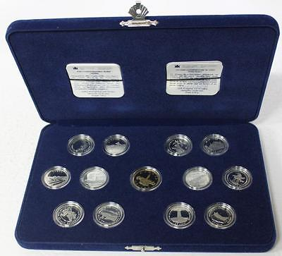 1867-1992 Canada 125 Sterling Silver Set Of 12 25 Cent Mint Proof Coins In Case