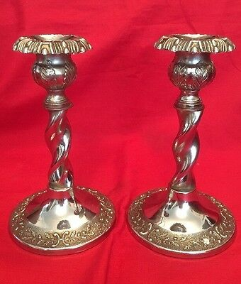 Pair Of Vintage Chromium Plated Candlesticks c.1930's