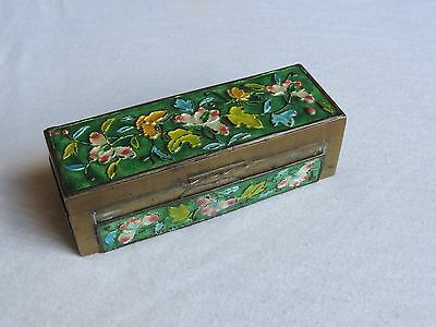 Vintage Chinese Enamel Box Brass Stamps Trinkets Butterfly (g533)