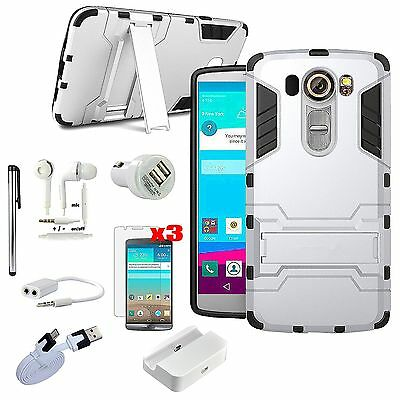 11 x Accessory Bundle Kickstand Case Cover Dock Charger Earphones For LG V10