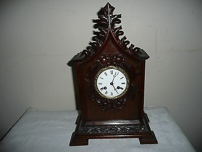 Superb French Mantle Clock in Hand Carved Gothic Case, Silk Suspension, With Key